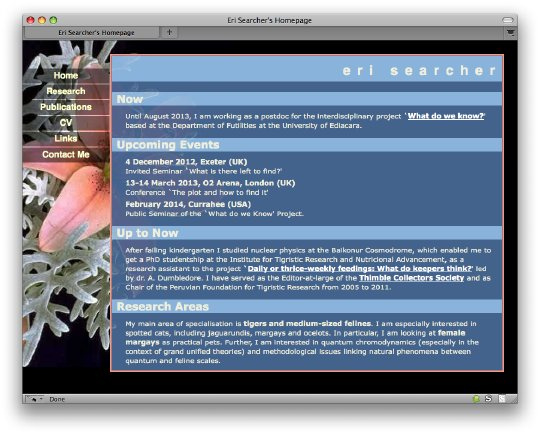 Screenshot: homepage of fictional Eri Searcher, which has 5 tabs